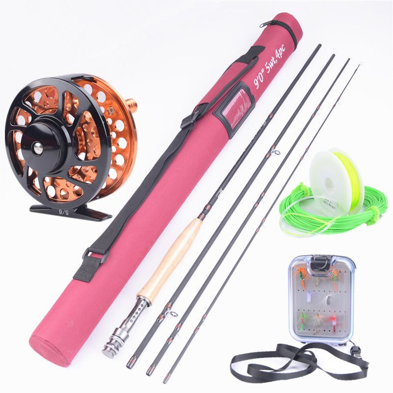 Hallo. whale Neue Carbon Fly Fishing combo Set 2,7 mt 4 abschnitt fly stange linie wt 5/6 angelrute liefert