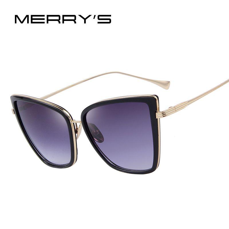 MERRY'S Mode Frauen Sonnenbrille Cat Spiegel Gläser Metall Katzenaugen-sonnenbrille Frauen Marke Designer Hochwertigen Quadrat S'8222