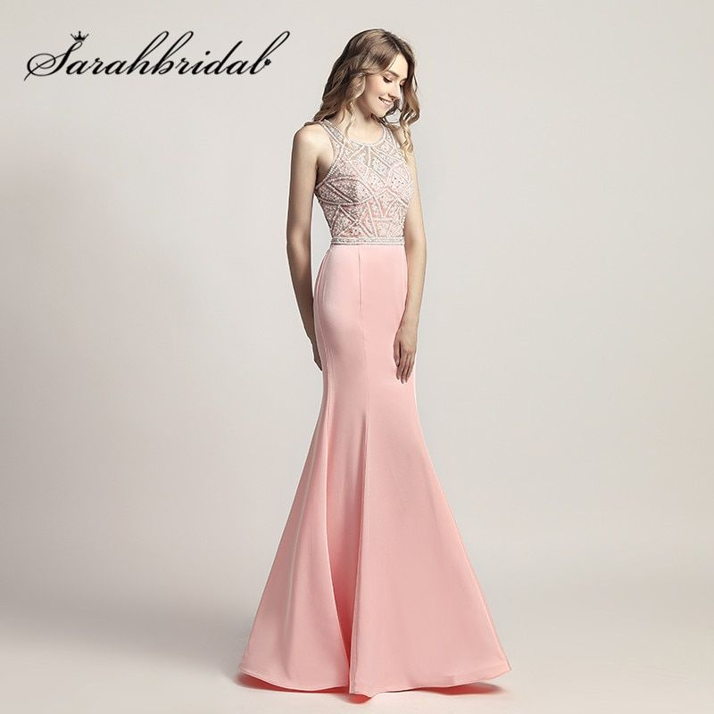 Pink Mermaid Long Prom Dresses O-Neck Beading Pearls Sweet Girl Evening Party Gowns Zipper Back Floor Length vestido longo LX420