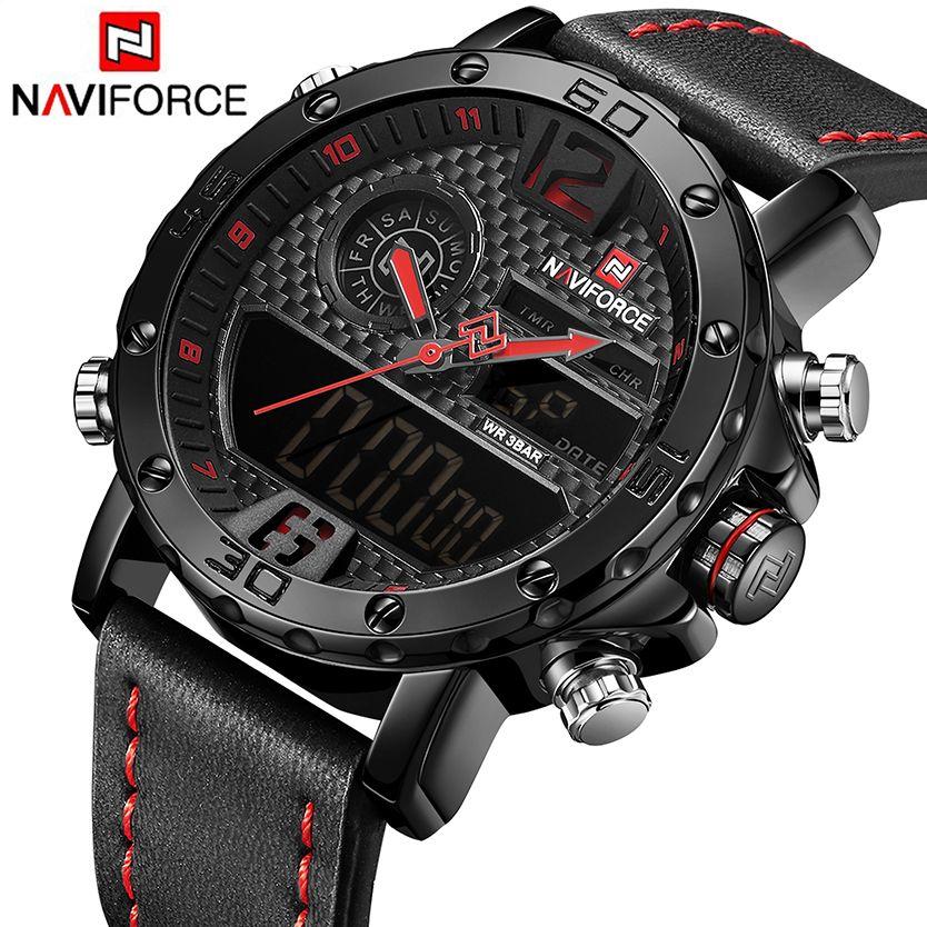 NAVIFORCE Mens Watches Top Brand Luxury Original Sports Watch Men Leather 30M Waterproof Miliary Dual Display Wristwatch Clock