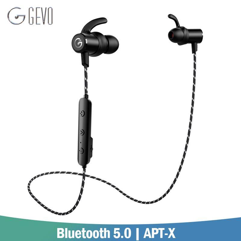 GEVO GV-18BT Sans Fil Casque Bluetooth 5.0 APT-X Sport Dans l'oreille Magnétique Stéréo Basse Casque Écouteurs Écouteurs Pour Xiaomi Téléphone