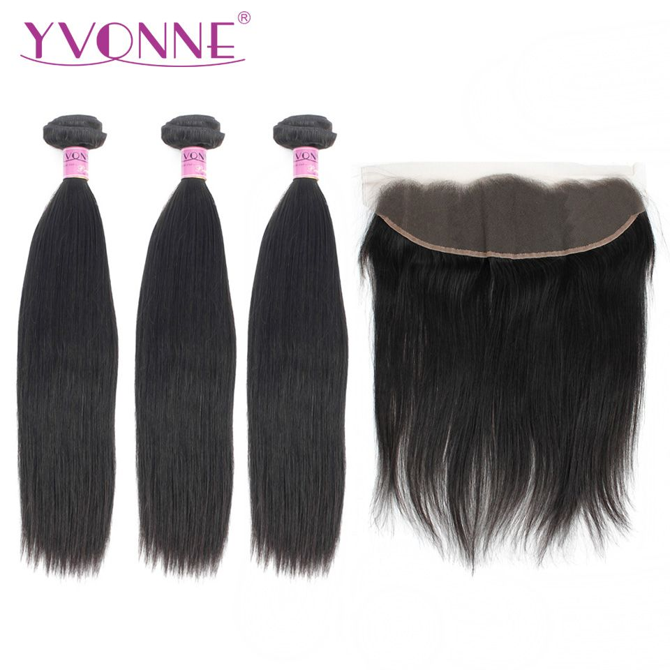 Yvonne Brazilian Virgin Hair Straight 3 Bundles With Frontal Natural Human Hair Weave With 13*4 Lace Frontal Closure