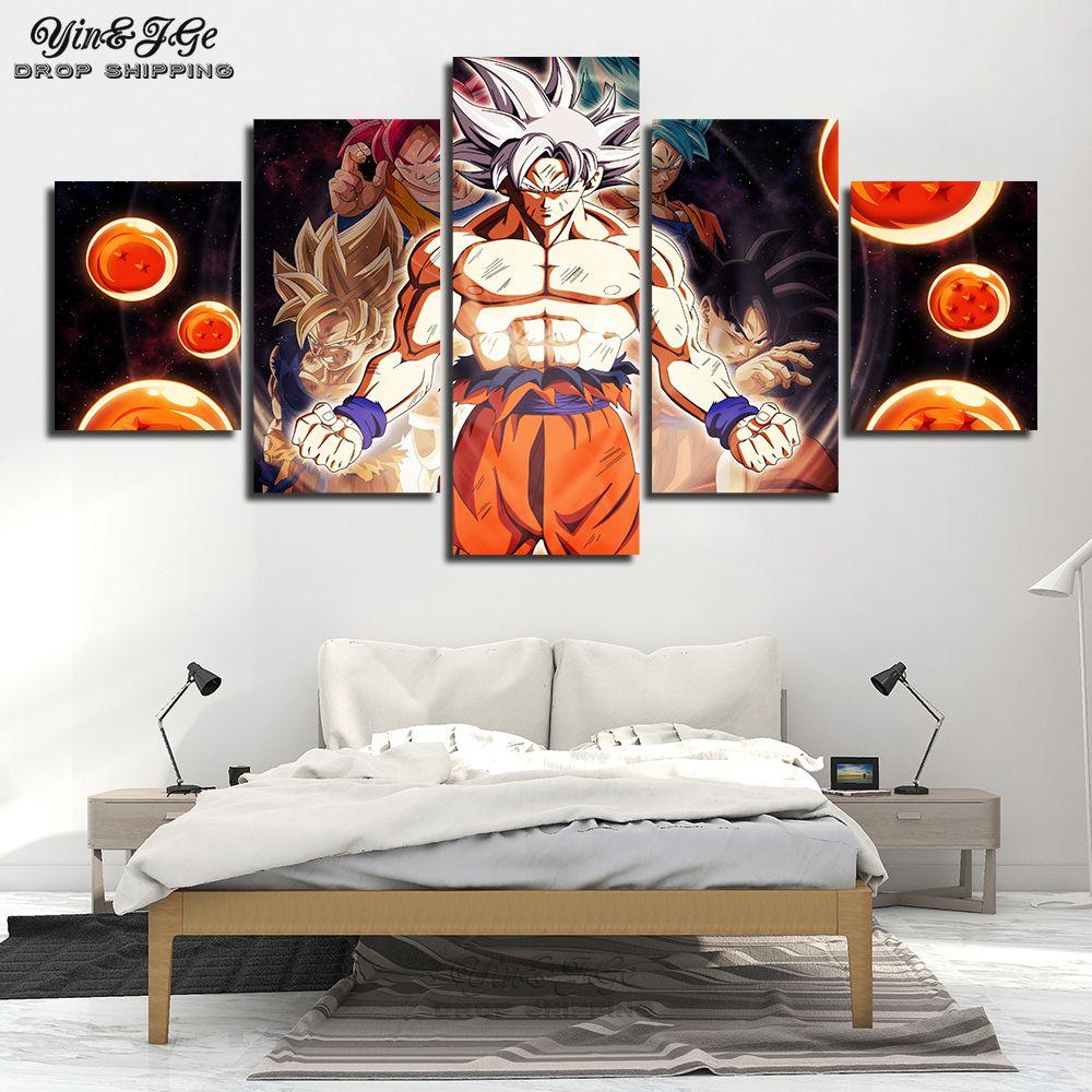 HD imprime Dragon Ball Super affiches pour enfants chambre 5 pièces Anime Goku toile peinture oeuvres Cuadros décor mur photos cadre