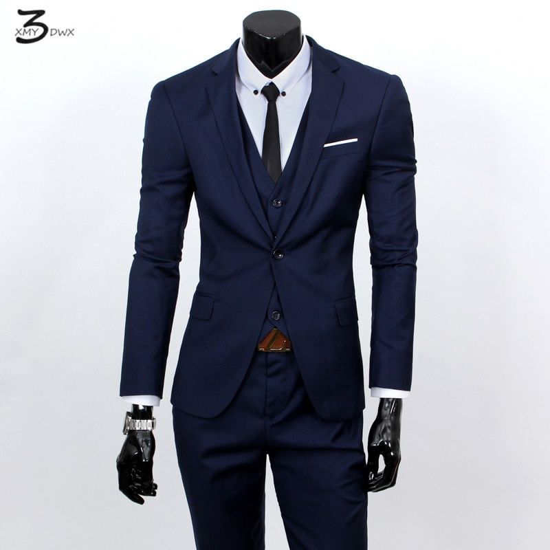 XMY3DWX(jackets+vest+pants) fashion male quality slim high-grade cotton business BLAZER/Men groom dress suit three-piece/jackets