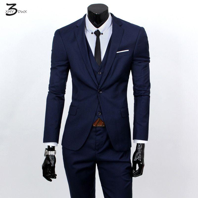 XMY3DWX(jackets+vest+pants) fashion male quality slim high-grade cotton business BLAZER/Men groom dress suit three-piece/jackets
