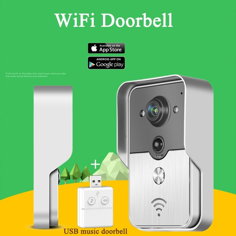 KONX KW01 WiFi Wireless Video DoorPhone intercom Doorbell peephole Camera PIR Nightvision Alarm USB Music Doorbell