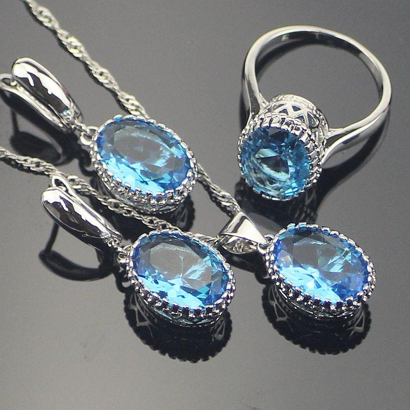 Charming Oval Bule  AAA+ Cubic Zirconia Women 925 Sterling Silver Jewelry Sets Silver Earrings/Pendant/Necklace/Rings