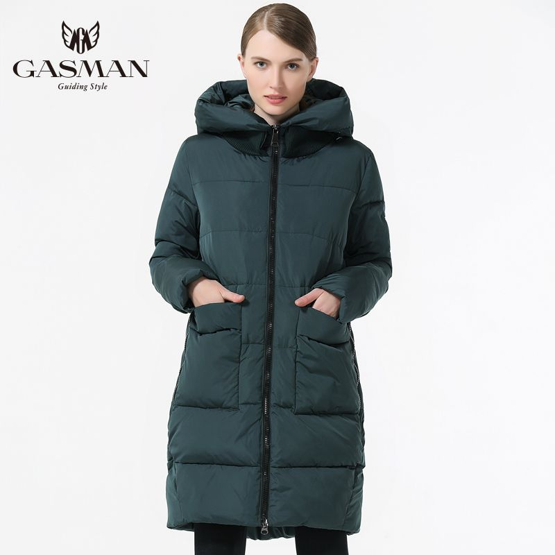 GASMAN 2018 Fashion Woman Winter Clothes Parka Hooded Down Jacket Medium Length Casual Winter Thickening Coat Plus Size 5XL 6XL