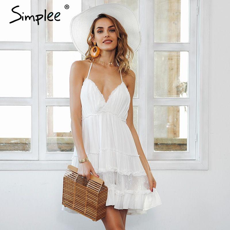 Simplee Strap backless mini summer dress women V neck tassel sexy lace white dress female 2018 streetwear beach dress vestidos