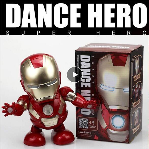 Peut danser fer homme Marvel Avengers Action Figure jouet lampe de poche LED avec lumière son musique Robot fer homme héros jouet électronique
