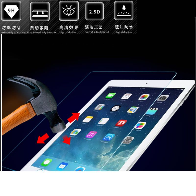 9H about 0.3MM premium 2.5D curved tempered glass screen protector for apple 2017 ipad air 1 2 5 6 pro 9.7 protective film guard