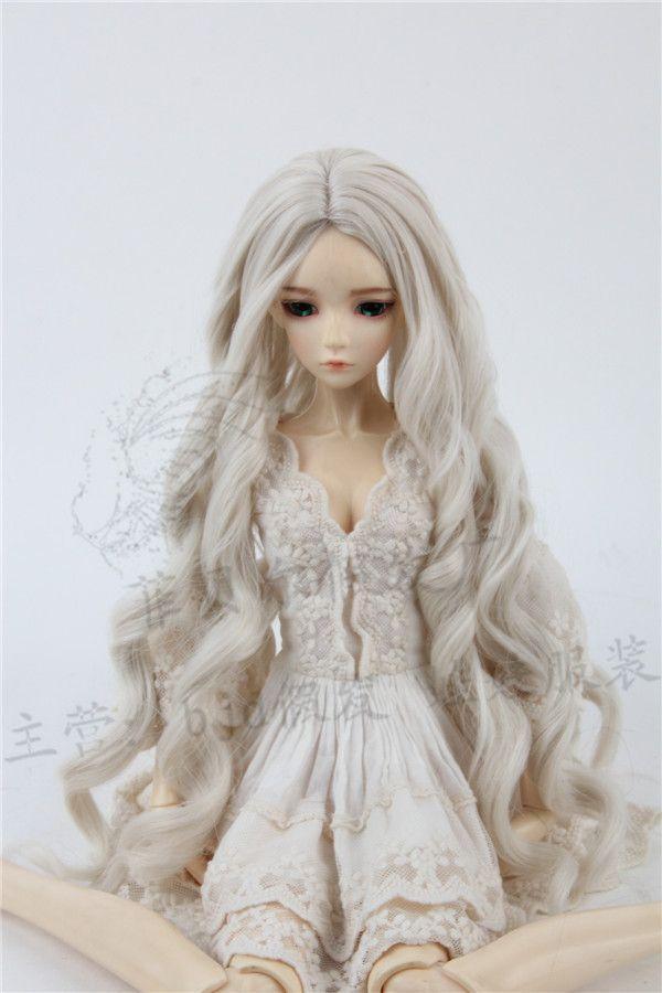 Luodoll Sd bjd poupée perruque 1/3 dans la sous-curling cloche lys bleu vague 3 points 60 cm poupée cheveux