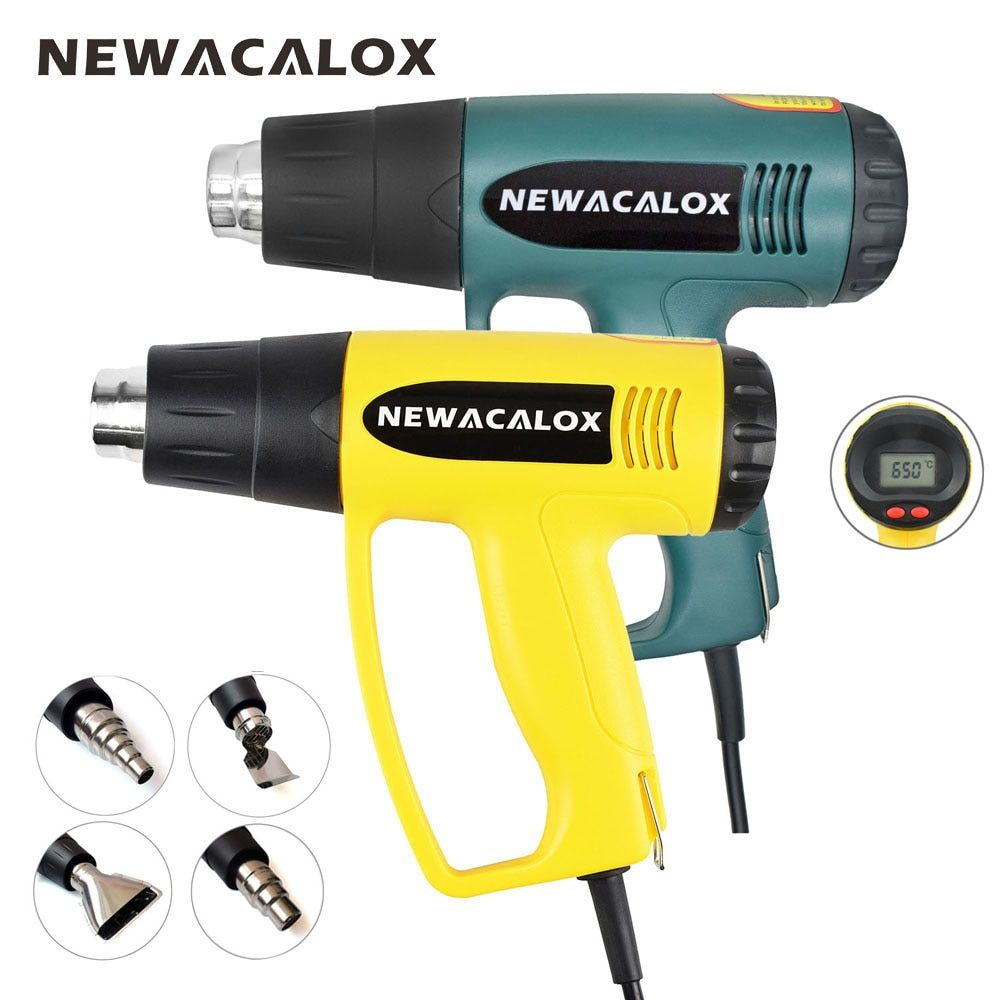NEWACALOX 2000W 220V EU Plug Industrial Electric Hot Air Gun Thermoregulator LCD Heat Guns Shrink Wrapping Thermal Heater Nozzle
