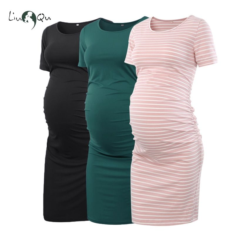Pack of 3pcs Women's Side Ruched Maternity Clothes Bodycon Dress Mama Casual Short Sleeve Wrap Dresses Womens Clothing Plus Size