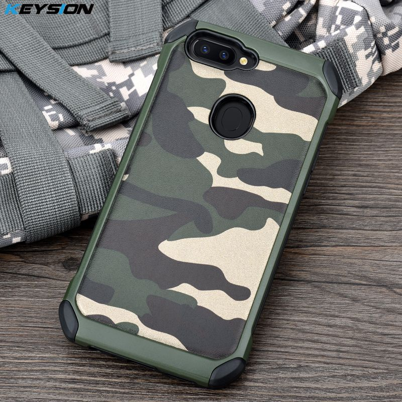 KEYSION Phone Case for OPPO R11S Army Camo Camouflage Pattern PC+TPU 2 in1 Anti-knock Protective Back Cover for OPPO R11S Plus
