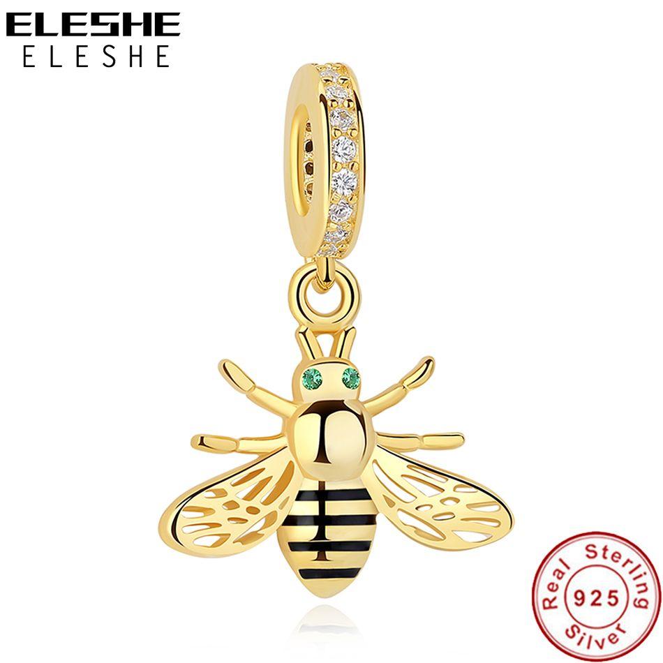 ELESHE Original 925 ELESHE Honey Bee Encanto Oro Amarillo de Plata Cabida Los Granos Del Encanto Pulseras Colgante DIY Auténtica Joyería