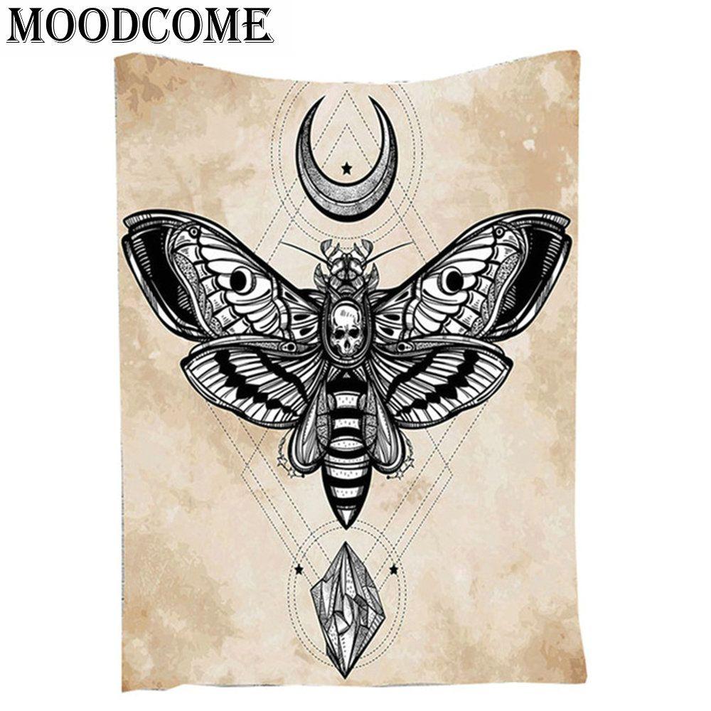 Череп бабочки Мандала Гобелены Moon Star Гобелены стене висит diamond Сияющий индийской Гобелены Мандала Одеяло летать животных