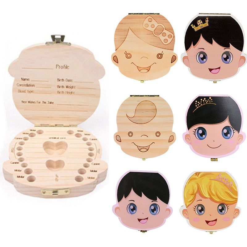 Spanish English Russian Baby Wood Tooth Box Organizer Milk Teeth Storage Collect Teeth UmbilicaSave Cord Lanugo Gift caja madera