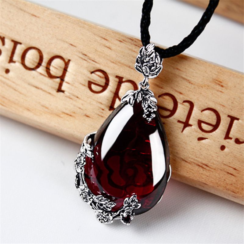 Célèbre marque 925 Argent Royal Bohème grenat naturel semi-précieux pierres Pendentif Collier rouge femelle rétro petite amie cadeau