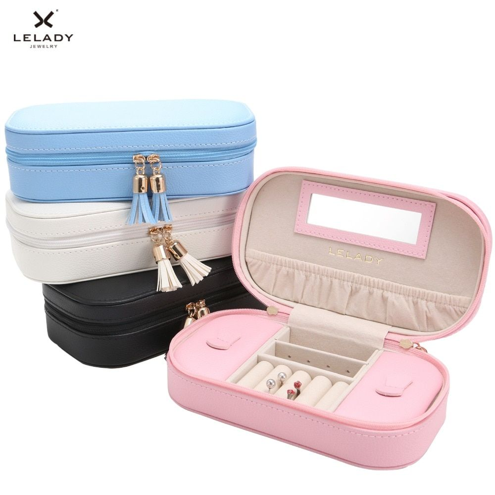 LELADY 17*5*10 cm Boîte à Bijoux Portable Voyage Bijoux Organisateur Cas De Rangement En Cuir boîte à Bijoux avec Miroir bijoux D'affichage Boîte