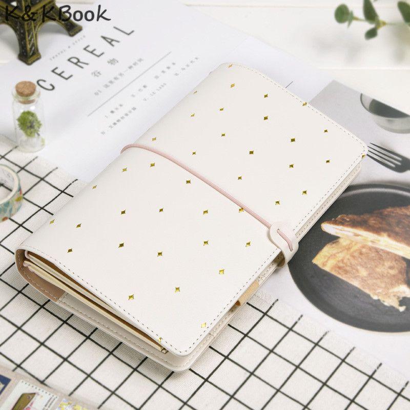 K & KBOOK Kawaii Ordinateur Portable En Cuir A6 Portable Voyageurs Journal Portable Journal Portable En Pointillés Planificateur Ordre Du Jour Organisateur Caderno