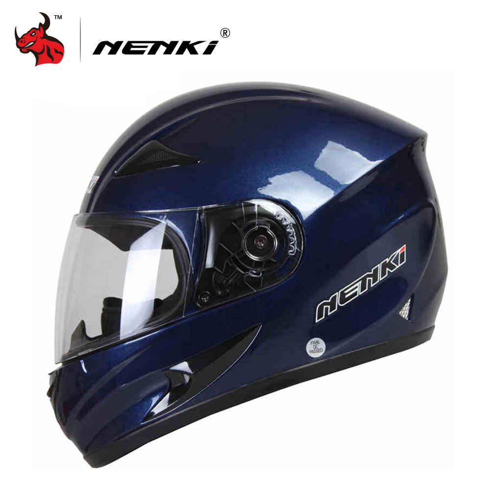 NENKI Motorcycle Helmet Motorcycle Cool Blue Full Face Riding Helmet Motorcycle Full Face Riding Helmet For Men And Women
