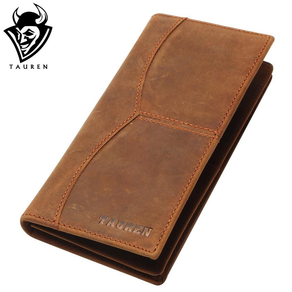 TAUREN Vintage Crazy Horse Genuine Leather Wallet Men Long Clutch Bag Leather Male Wallet Purse Coin Bag Money Clip Brown