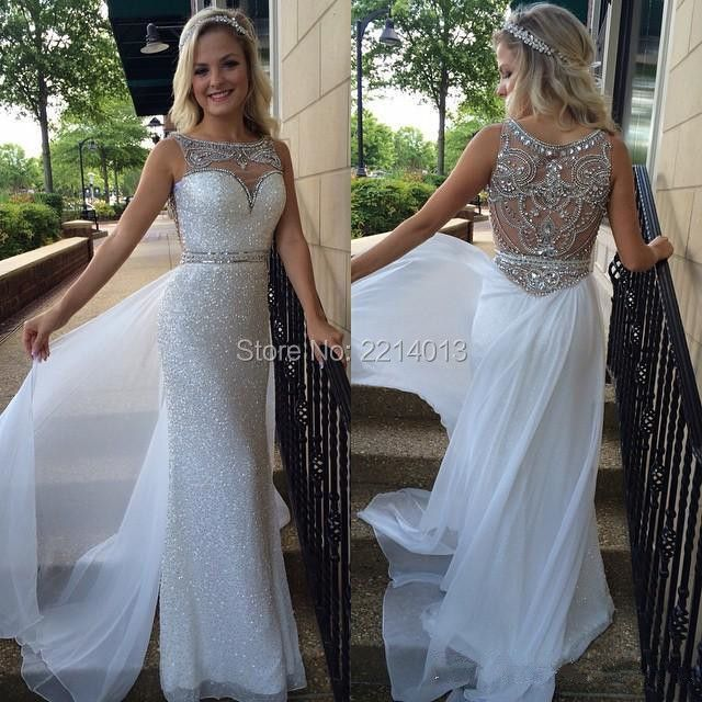 Hot Selling Jewel Collar Delicate crystal Beaded Sequins Custom made Chiffon Long Prom Dresses E0175