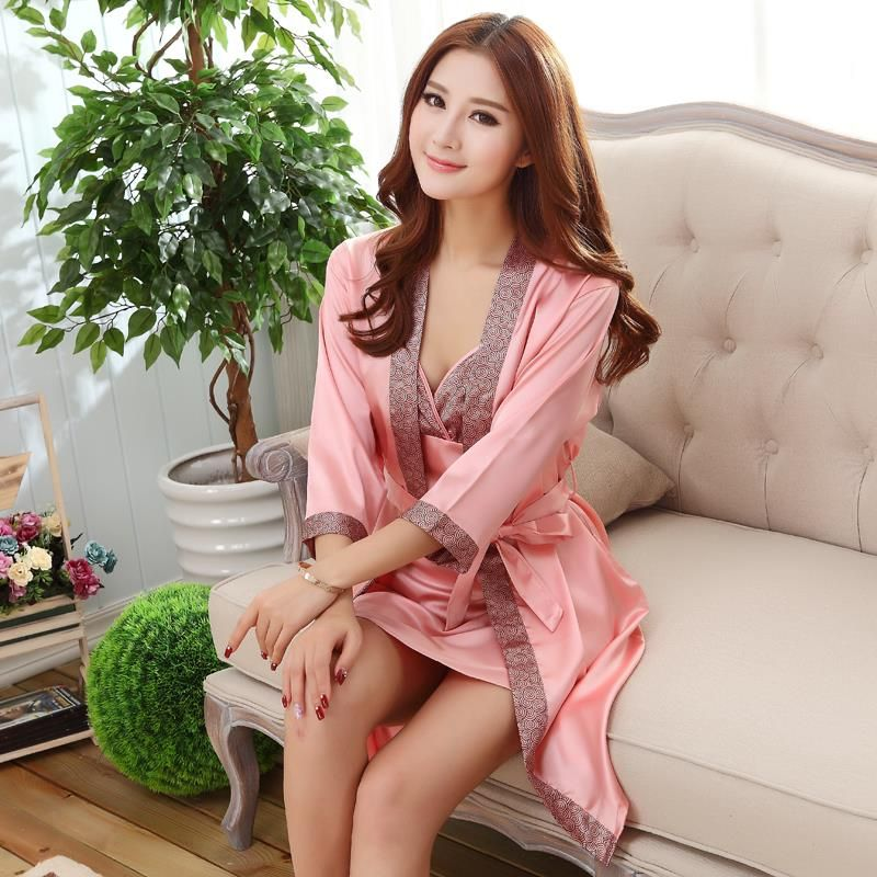 2016 NEW Fashion nightgown women  Emulation silk pajamas sexy robe sleepshirts good nightdress two-piece dress HOT Free shipping