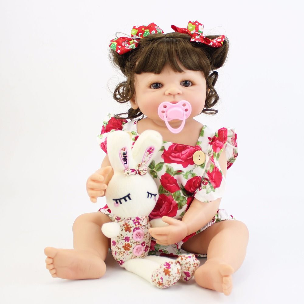55cm Full Silicone Body Reborn Baby Doll Toy For Girl Vinyl Newborn Princess Babies Bebe Bathe Accompanying Toy Birthday Gift
