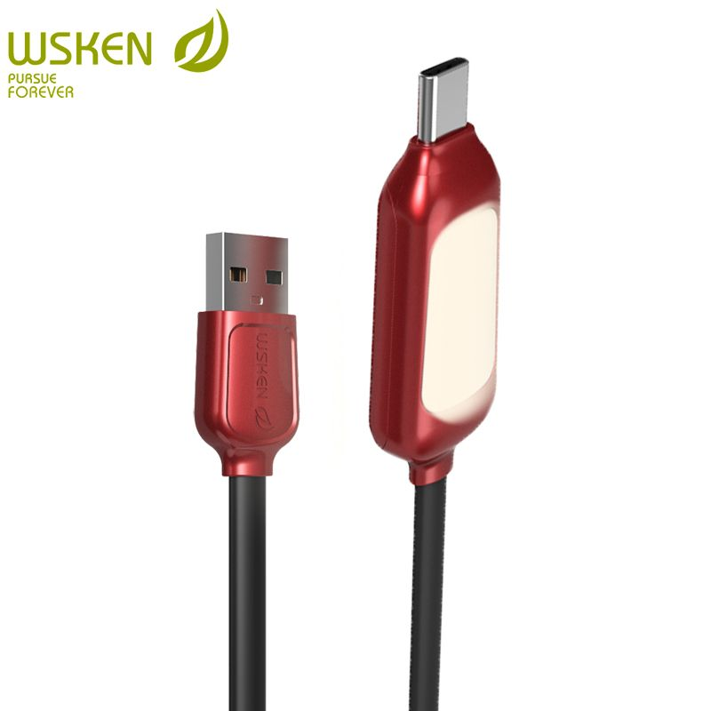 WSKEN USB type c cable for samsung s8 note8 USB c devices magnetic light fast charging mobile phone cable with LED lamp light 2m