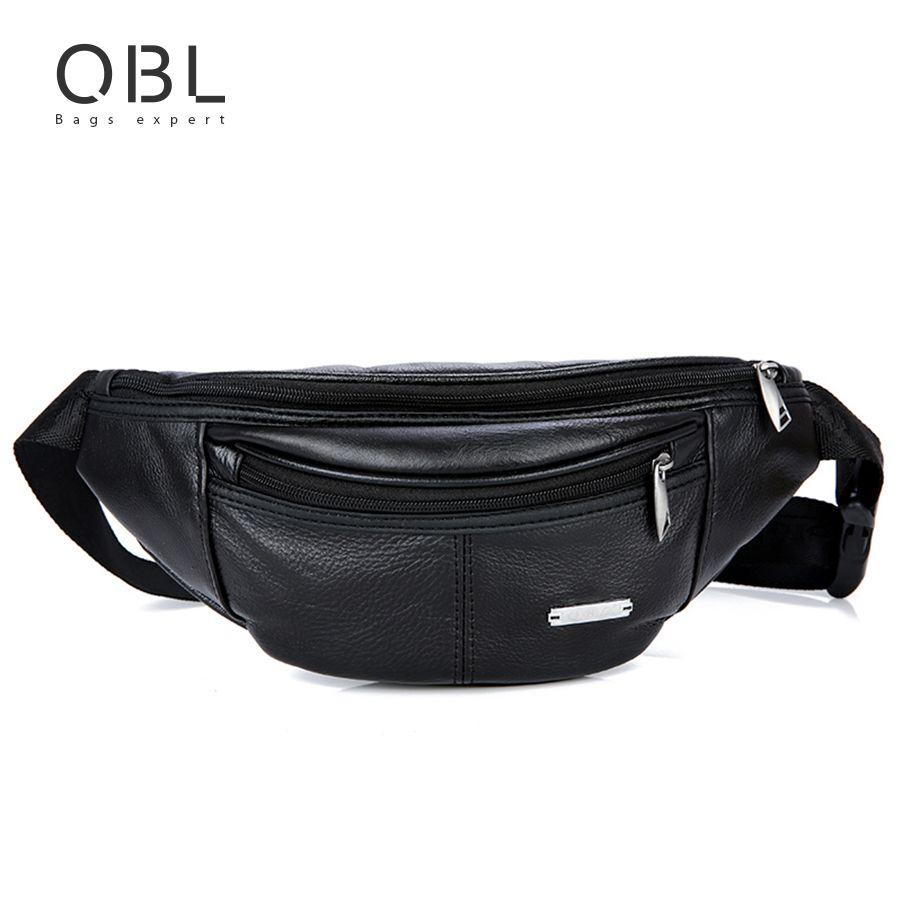 QiBoLu Cow Genuine Leather Waist Pack Fanny Pack Bum Belt Bag Men Pouch Pochetes Bolso Cintura Marsupio Uomo Banane Sac MBA62