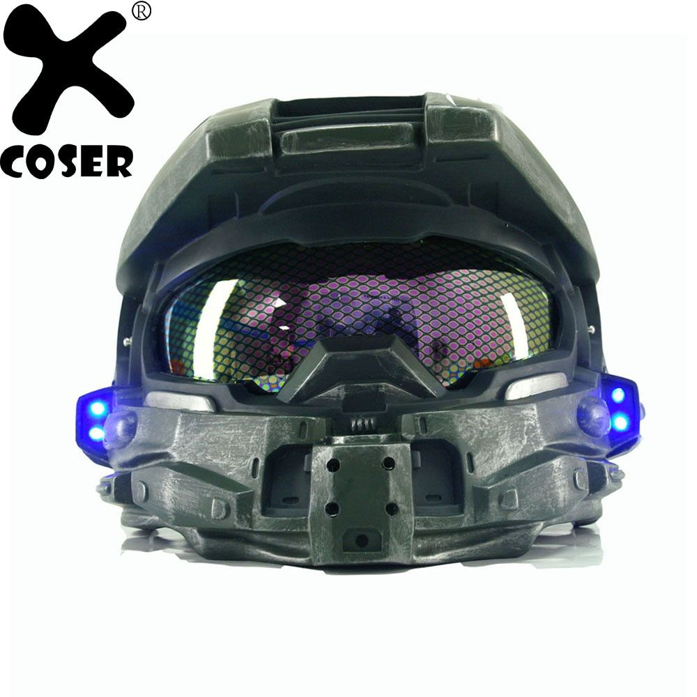 XCOSER Halo 4 Master Chief Helmet Cosplay Props Mens Cool Game Cosplay Full Face Mask Helmets With Led Light Classical Version