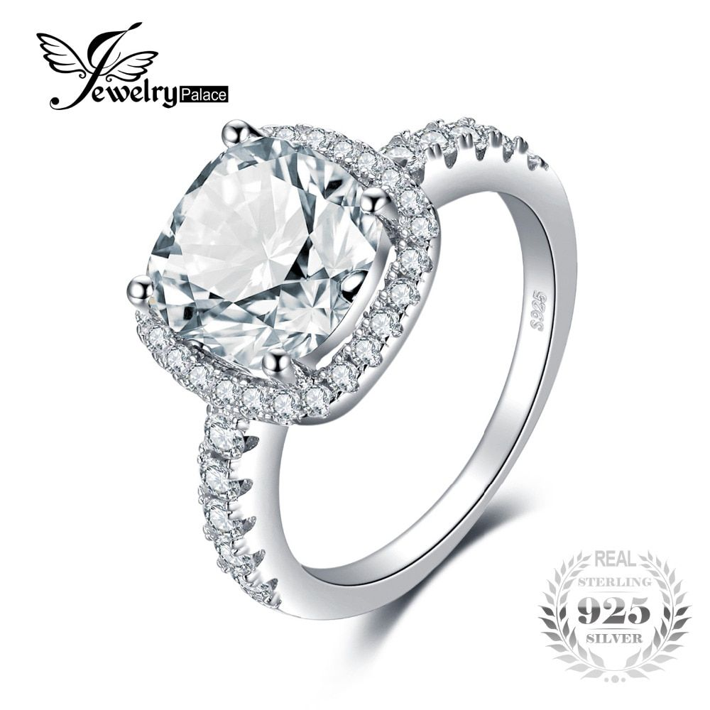 JewelryPalace Cushion 3ct Wedding Halo Solitaire Engagement Ring 925 Sterling Silver Ring for Women Wedding Fine Jewelry On Sale