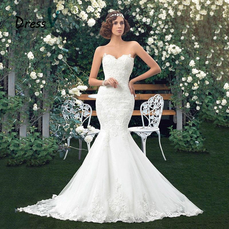 Dressv Charming Applique Bridal Gowns Mermaid Lace Wedding Dresses Sweetheart Trumpet floor length vintage wedding dress girl