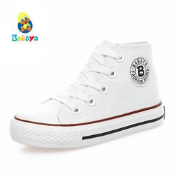 Anak sepatu untuk gadis anak-anak sepatu kanvas anak laki-laki sneakers 2018 Musim Semi musim gugur gadis sepatu Anak mode sepatu Putih Tinggi Solid
