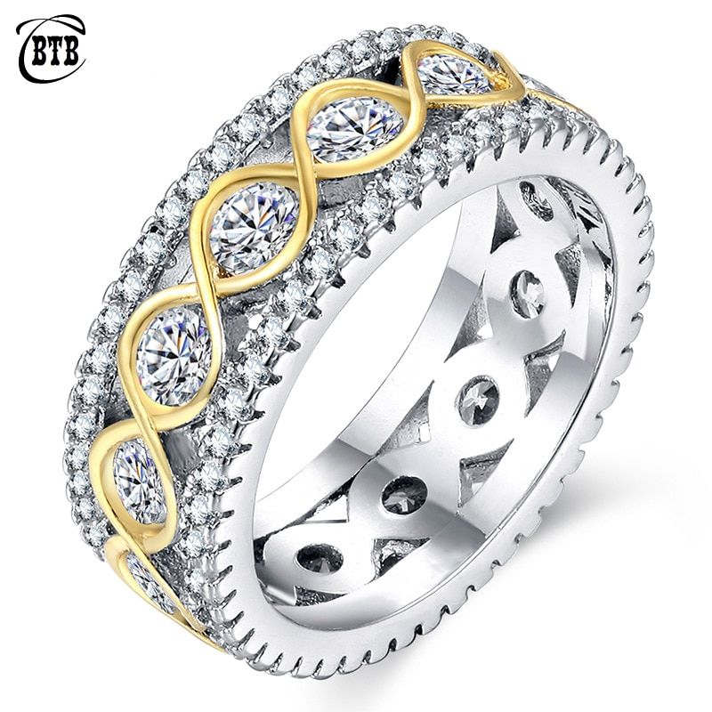 Exquisite Gold & Silver Color Promise Rings Personalized Infinity Ring Vintage Jewelry Luxury Wedding Bands For Women