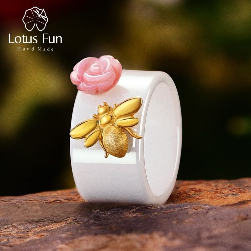 Lotus Fun Real 925 Sterling Silver Natural Handmade Fine Jewelry Ceramic Ring Cute Bee Kiss from a <font><b>Rose</b></font> Rings for Women Bijoux