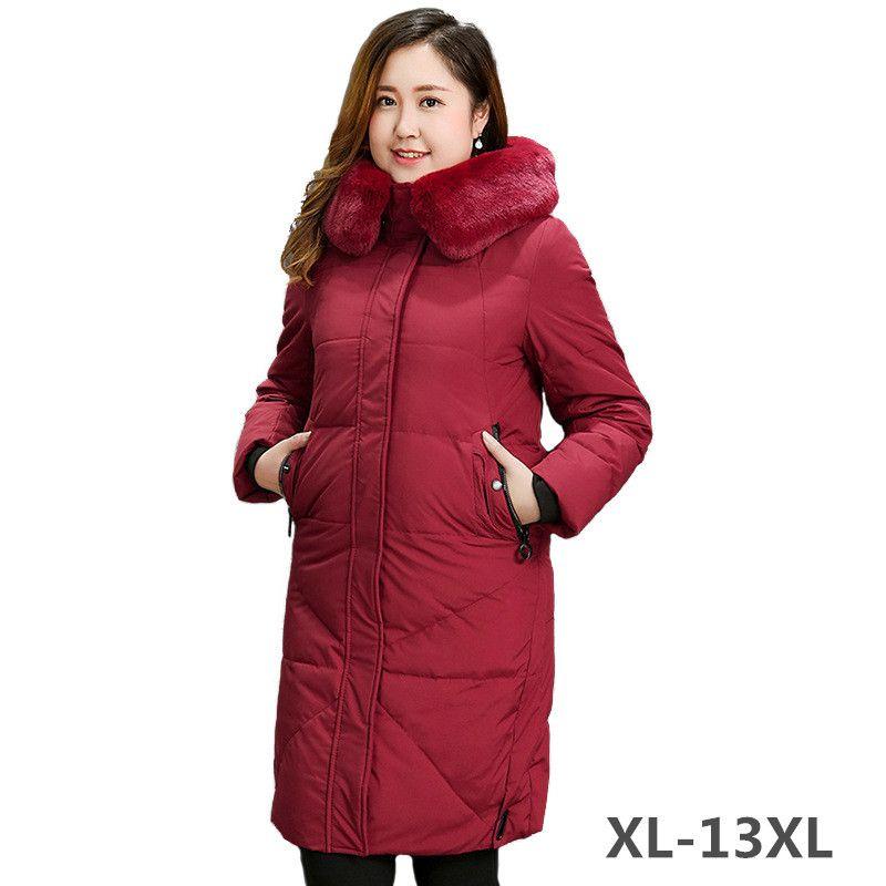 Super Große größe Unten jacke Frauen Winter Parkas Pelz kragen Mit Kapuze Tops Plus größe XL-13XL Starke Warme Weiße ente unten mantel Weibliche