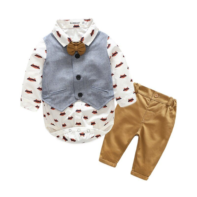 Kimocat Newborn Baby Boy Clothes Set <font><b>Birthday</b></font> Christening Cloth Infant Baby Boys Formal Wedding Clothes Suit Vest+T-shirt+Pant
