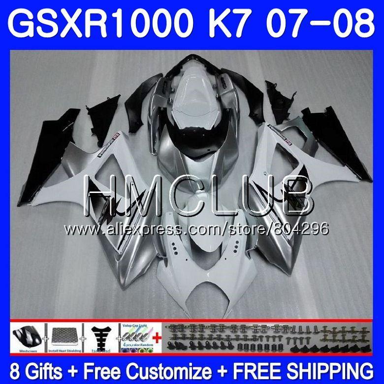 Körper Für SUZUKI GSXR-1000 K7 GSX-R1000 GSXR 1000 07 08 35HM. 10 GSXR1000 07 08 Silbrig weiß Karosserie GSX R1000 2007 2008 Verkleidung