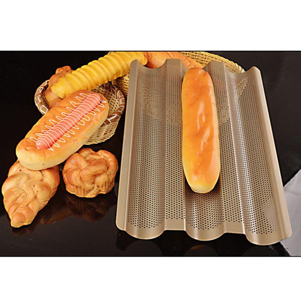 Новый багет французской выпечки хлеба лоток, золото Цвет багет Рамки стойки, антипригарной углеродистой Сталь багет выпечки хлеба плесень ...