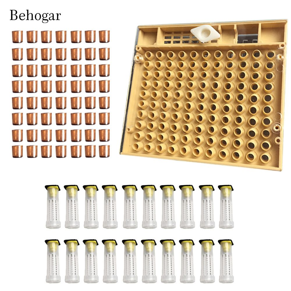 Behogar Beekeeping Tools Equipment Set Queen Rearing System Cultivating Box 110pcs Plastic Bee Cell Cups Cupkit Queen Cage