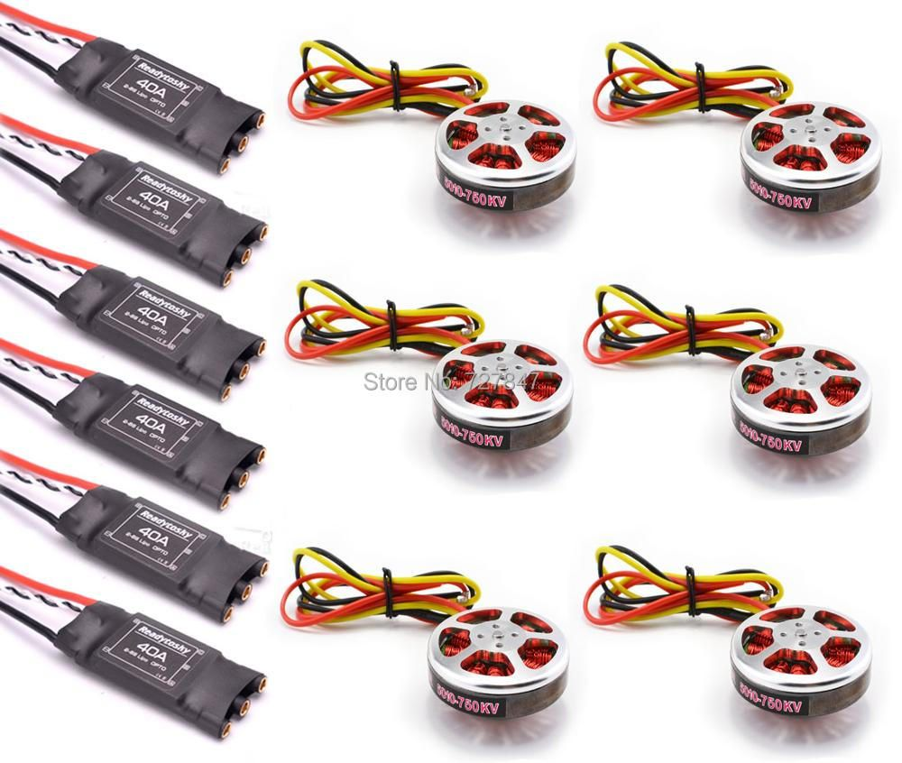 6Pcs 5010 360KV / 750kv High Torque Brushless Motors + 6Pcs Readytosky 40A ESC OPTO 2-6S for ZD850 ZD550 S550 F550 Quadcopter