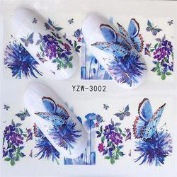 FWC 1 лист наклейки для ногтей Бабочка Лето Красочные Водные Переводные украшения для ногтей УФ Гель-лак DIY наклейки