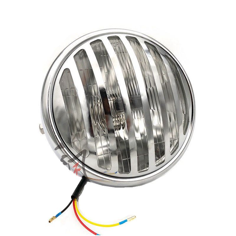 Universal 7 Inch Motorcycle Headlight Silver Color with Chrome Grill Style for Harley Cafe Racer For Cruisers Choppers Cafe Race