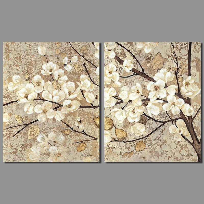 Ретро Китайский Японии стиль украшения белый цветы стены искусстве желтый старый лист Деревья Холст Картина гостиной Unframed