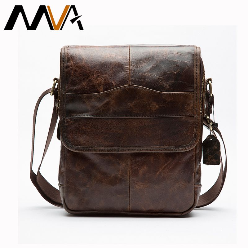 MVA Men's Bags Genuine Leather male Crossbody Bags strap Small Casual Flap Men Leather messenger bag men's shoulder bag 1121