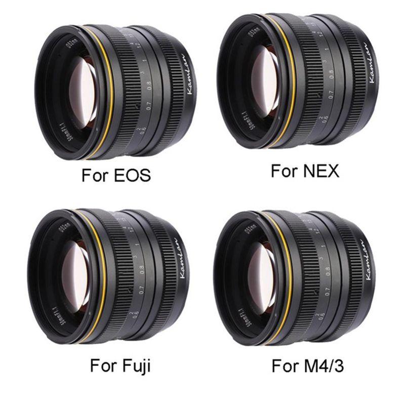 Kamlan 50mm f1.1 APS-C Grande Ouverture Manuel lentille focale pour Compacts pour Canon EOS-M/Sony e-mount /Fuji X pour M4/3