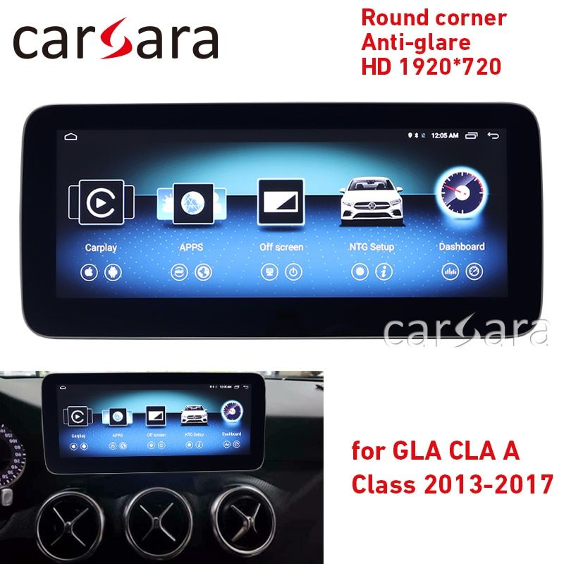 Touch-navigation CLA w117 GLA X156 EINE w176 runde ecke anti-glare HD 1920*720 bildschirm GPS radio stereo dash multimedia player
